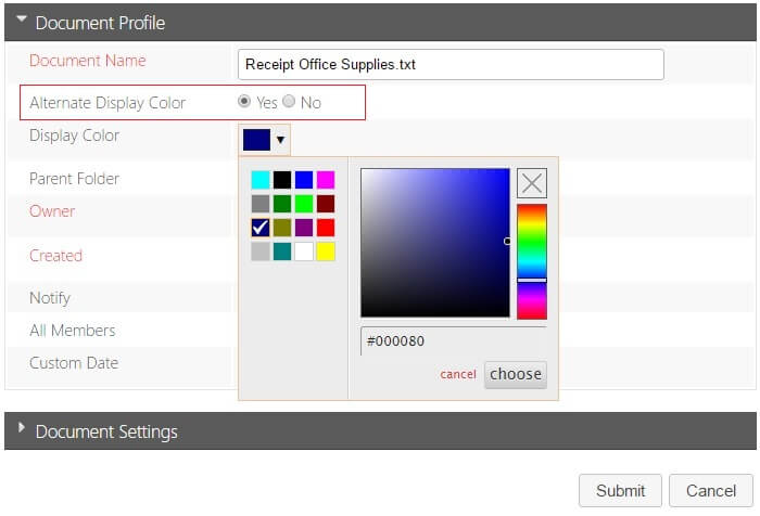 Document Color Code-