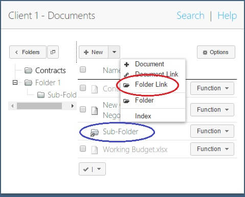 Documents – Linking to Folders