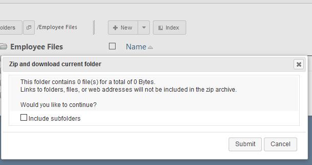 Zip Folder Options Pane